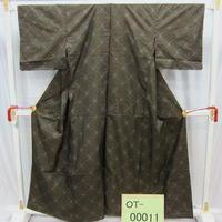 リユース【大島紬 OT-00011】グレー茶色地 麻の葉調柄  身丈158cm 裄丈61cm