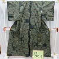 リユース【大島紬 OT-00013】グレー紺地 薔薇柄  身丈158.5cm 裄丈61cm