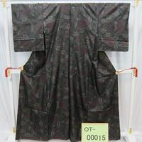 リユース【大島紬 OT-00015】濃グレー地 大葉柄  身丈161cm 裄丈64cm