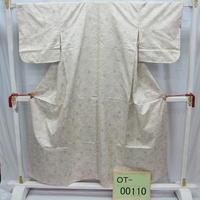 リユース【大島紬 OT-00110】薄グレー地 絣模様柄  身丈153cm 裄丈63cm