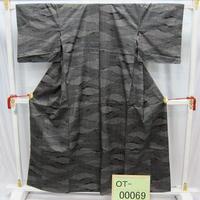 リユース【大島紬 OT-00069】グレー地 横縞雲柄  身丈156cm 裄丈61cm