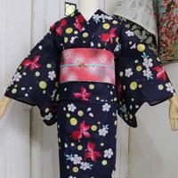 【新品】【身丈163】濃紺地に金魚と桜 浴衣 YUA005