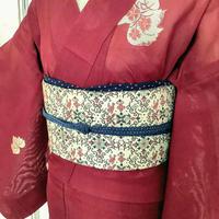 【リサイクル】【夏着物】秋草模様紗の夏着物 KIA152