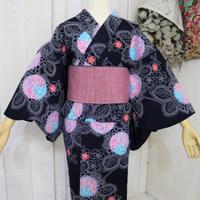 【注染浴衣】淡いピンクとブルーの花柄 YUA026