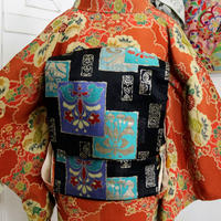 【アンティーク】草木と色紙模様名古屋帯 NAA009