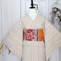 【リサイクル】竹模様紬単衣 KIA005