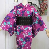 【新品】【身丈163】紫地ターコイズブルー花柄浴衣 YUA039