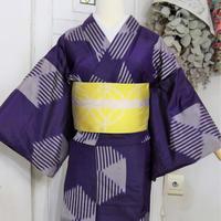 【リサイクル】紫の幾何学模様 銘仙単衣着物 KIA028