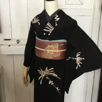 km1011【袷着物】黒地にモダン白菊のアンティーク着物コーデ・袷着物コーデ6点セット