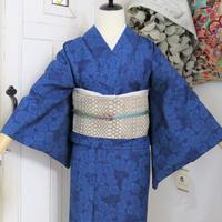 【単衣着物】【身丈160】藍色菊のような花柄 KIA092