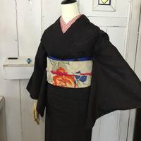km1024【袷着物】赤と控えめなブルー・黒のコンビネーション・現代紬袷着物コーデ5点セット