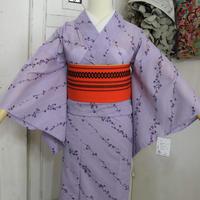 【リサイクル】薄紫小花模様単衣着物 KIA024