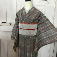 Km987 【単衣】【身丈161】チェックグレイの単衣着物に麻の葉夏帯 トータルコーデ6点セット