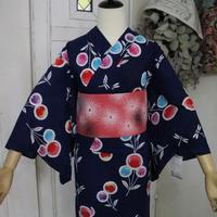 【注染浴衣】丸い花とトンボ柄 YUA045