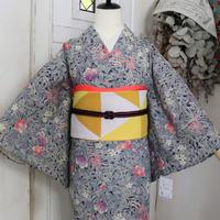 【単衣着物】濃紺にピンク紫の椿 KIA093