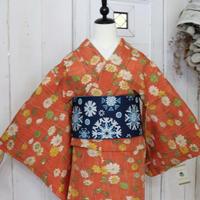 【リサイクル】小花柄紬単衣 KIA011