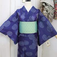 【リサイクル】青い渦巻き銘仙単衣着物 KIA025