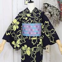 【注染浴衣】黒地黄色蝶々の浴衣 YUA068