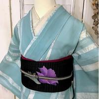 【リサイクル】【夏着物】白竹ストライプ絽の夏着物 KIA154