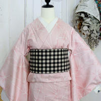 【リサイクル】麻の葉風紬単衣着物 KIA009