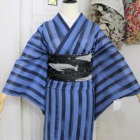 【リサイクル】【身丈167】青縞模様単衣着物 KIA023