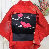 【リサイクル】黒地に椿模様名古屋帯 NAA026