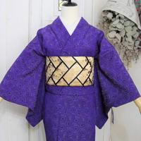 【リサイクル】青紫レース菊模様 単衣着物 KIA030