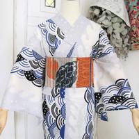 【新品】【身丈163】白地青海波文様の浴衣 YUA037