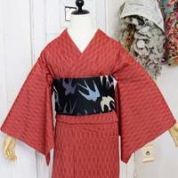 【リサイクル】よろけ縞模様単衣紬着物 KIA017