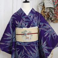 【アンティーク】【夏着物】青紫に竹模様夏着物 KIA114