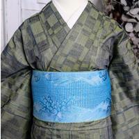【リサイクル】変わり市松模様単衣紬着物 KIA039