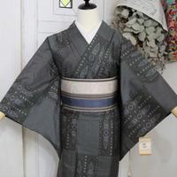 【リサイクル】【紬】グレー変わり市松模様 単衣着物 KIA033