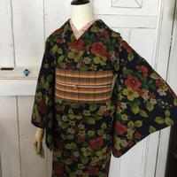 km1002【ウール着物】愛らしい花柄のしょうざんウールにカジュアル半幅帯・単衣着物コーデ5点セット