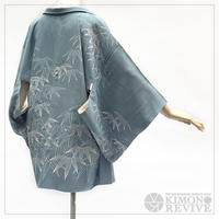 Bamboo leaf pattern haori, grayish blue #h004