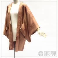 Country scenery pattern haori, caramel brown #h017