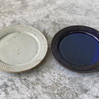 【伊藤豊】ナナメしのぎ6.5寸プレート 粉引/ブルー