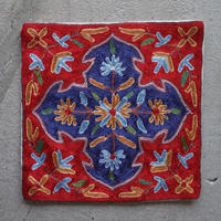 カシミール刺繍クッションカバー/small/RED FROWER