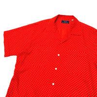 70's〜 Dot Pattern Open Collar Shirt size M〜L程