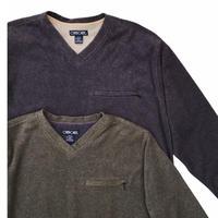 CHEROKEE  V-neck Pocket Fleece   Gray Size-L Green Size-M