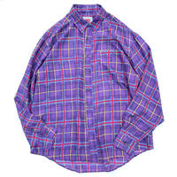 long sleeve check silk shirt size L