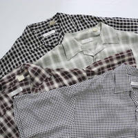 Open Collar S/s Shirt  Black×White - Brown - Green - Black×White  M