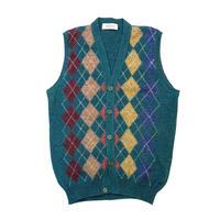 Shetland Wool Argyle Vest size M程
