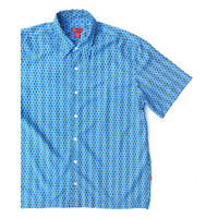 WHISPERING SMITH  麻柄 POLYESTER Shirt  Size-XL