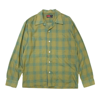 60-70's CAMPUS(POLYESTER×COTTON)OPEN COLLAR SHIRT size M