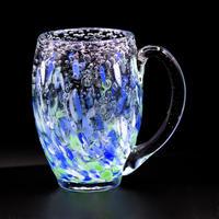 気泡の海 煌グラス[手付](青緑砡)