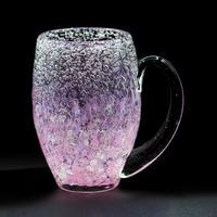 気泡の海 煌グラス[手付](ピンク砡)