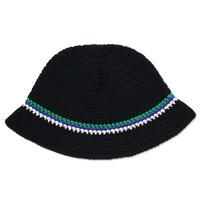 Knitting Hat <Black x Green x Purple x White>