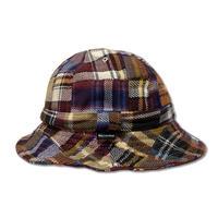 Skate Bell Hat    <Brown Plaid Wool Patchwork>