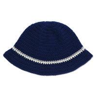 Knitting Hat <Navy x Gray x White>