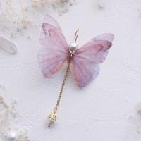 【FayFay】ミルキーウェイピアス(イヤリング)・なでしこ色の蝶